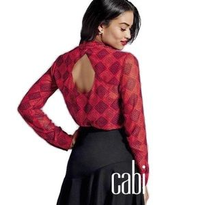 CAbi red diamond sheer blouse with cowl neckline